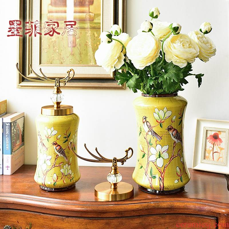 American light key-2 luxury ceramic vase furnishing articles European creative living room TV ark, wine porch decoration home decoration