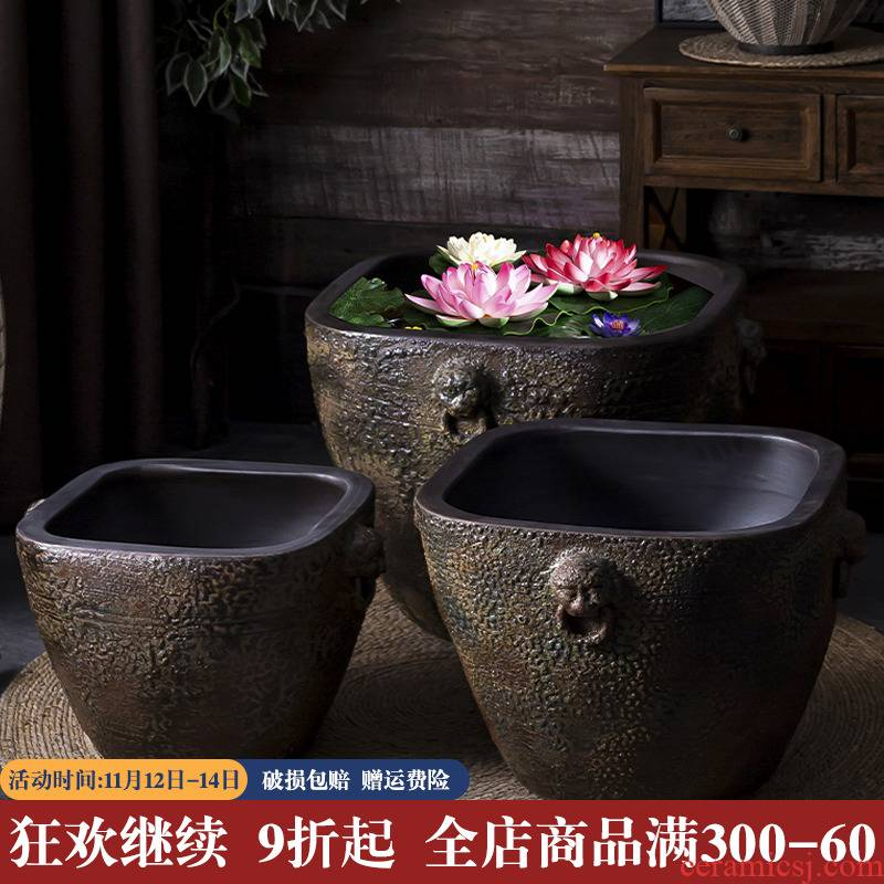 Fish tank old water household ceramics tile cylinder coarse pottery basin water lily lotus is suing landscape garden plant trees