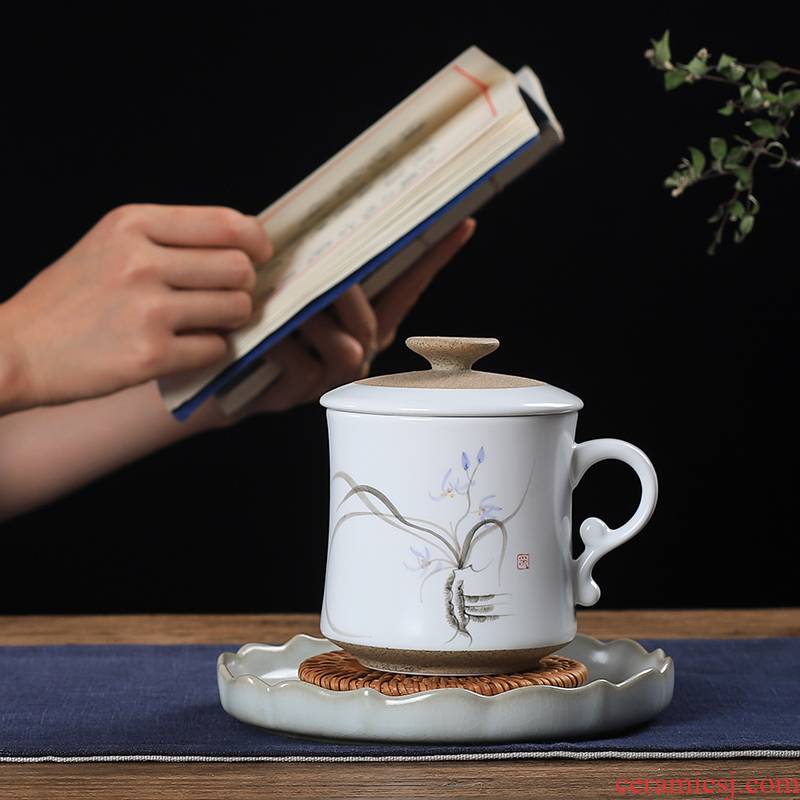 One thousand fire tea cup with cover household ceramic keller cup filter the meeting hand - made couples glass office cup