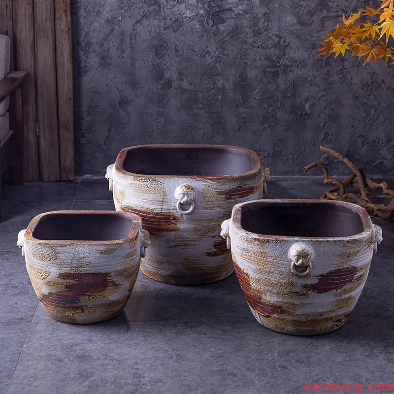 Ceramic antique old oversized cylinder aquarium coarse pottery water lily flower bed hotel garden flowerpot retro big basin to plant trees
