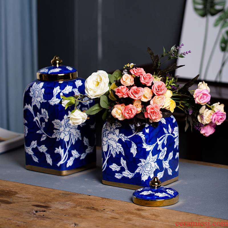 Jingdezhen ceramics kangxi archaize general blue and white porcelain jar of hand - made of vases, new Chinese style living room decorations furnishing articles