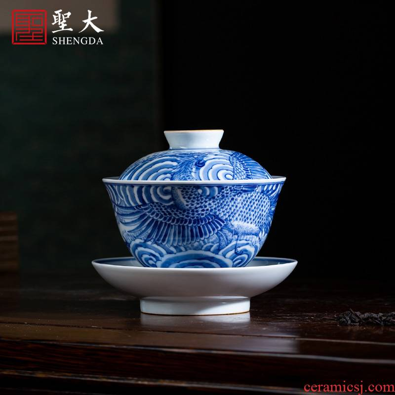 St large ceramic three tureen pure hand - made porcelain work YunFeng full grain tureen tea bowl of jingdezhen tea service by hand