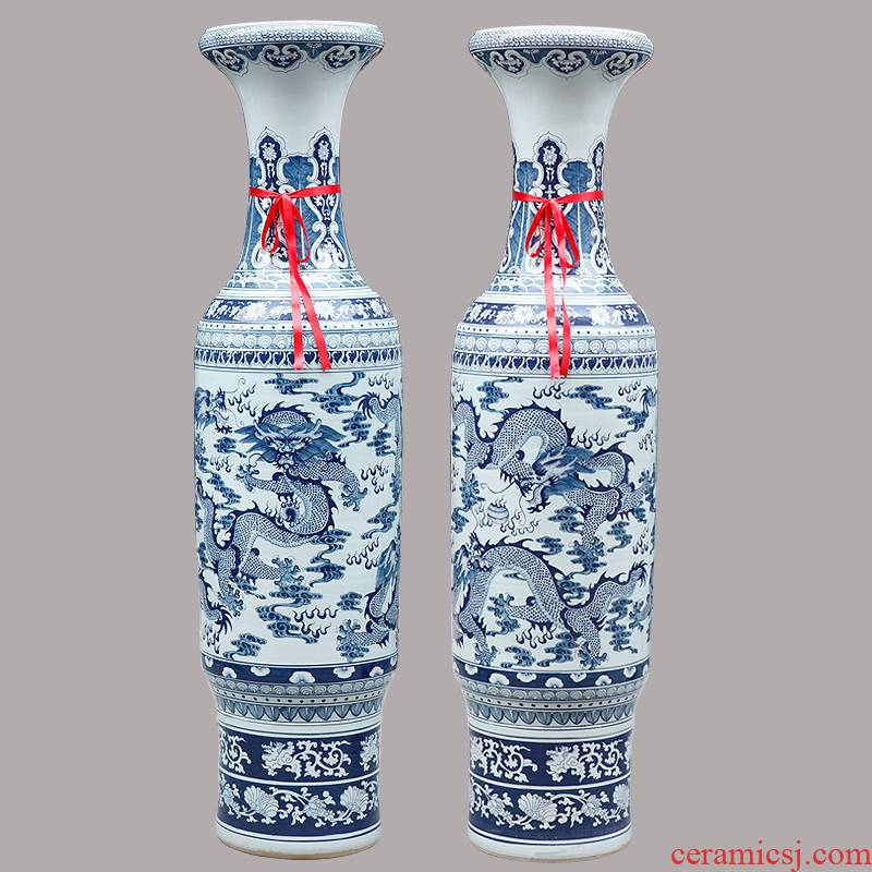 208 jingdezhen blue and white porcelain painting manually dragon in the day of opening taking 1.8 meters 2.2 meters of large vase