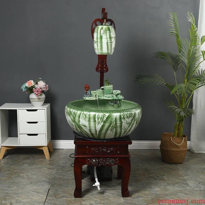 Jingdezhen ceramic tank - oxygen cycle ceramic filter tank porcelain jar goldfish bowl sitting room home decoration