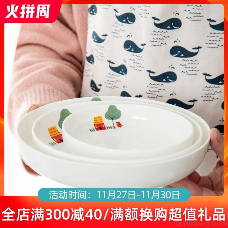 Jingdezhen ceramic plate suit household creative cartoon dish dish dish deep dish soup plate fruit plates