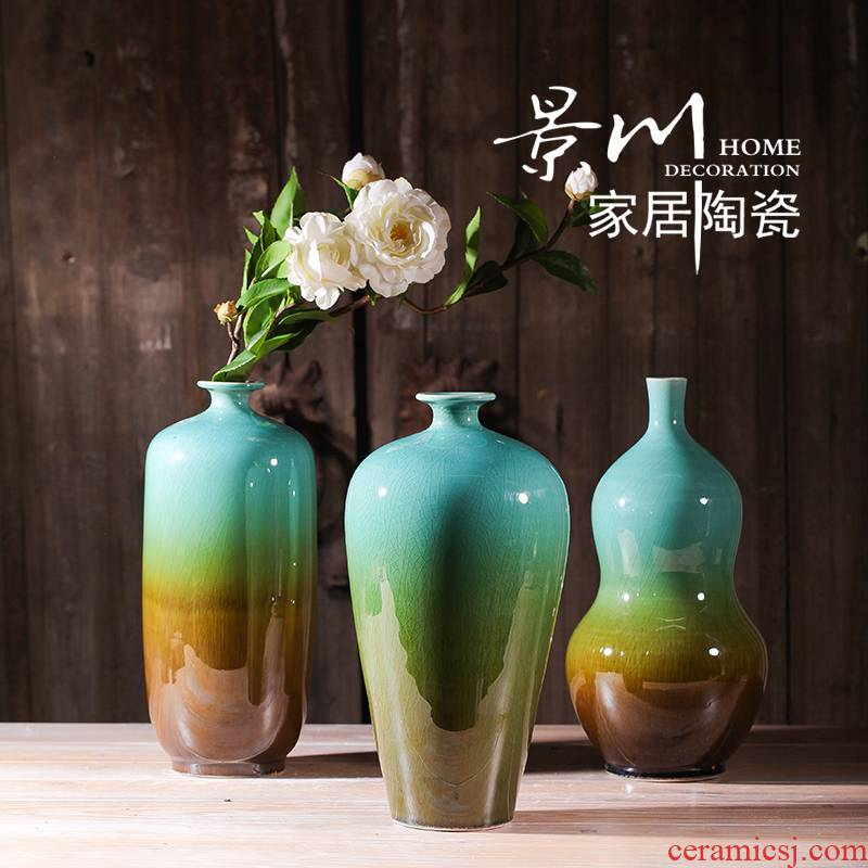 Jingdezhen ceramics up crack glaze vase three - piece home furnishing articles mesa of I sitting room adornment
