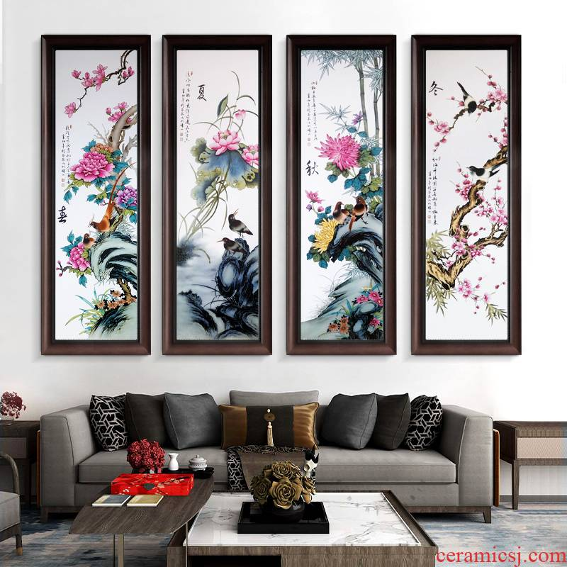 Jingdezhen porcelain plate painting ceramic painting landscape of new Chinese style dining - room sitting room adornment corridor sofa setting wall hang a picture