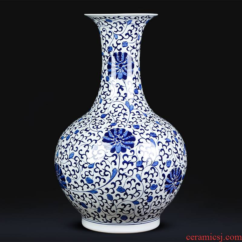 Hand made lotus pattern of blue and white porcelain of jingdezhen ceramics large ground vase sitting room adornment of Chinese style household furnishing articles