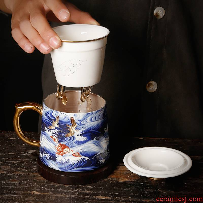 Ancient sheng up with porcelain enamel coppering. As silver tea cups of green tea water separation tank filter office boss glass tea set