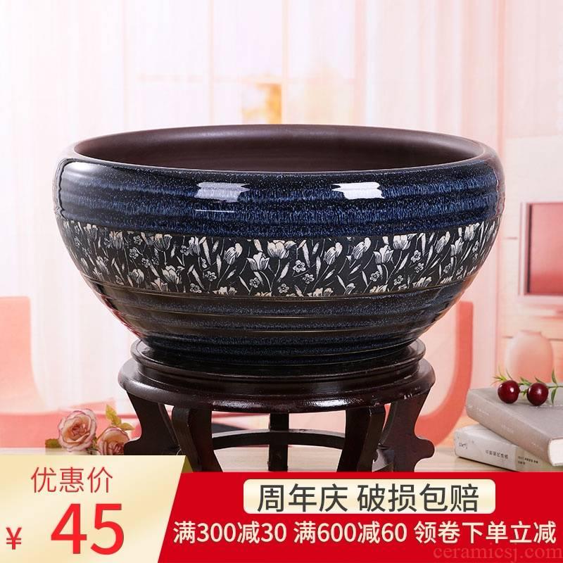 Jingdezhen ceramic aquarium package mail hand - made desktop furnishing articles large turtle pond lily goldfish bowl lotus feng shui basin