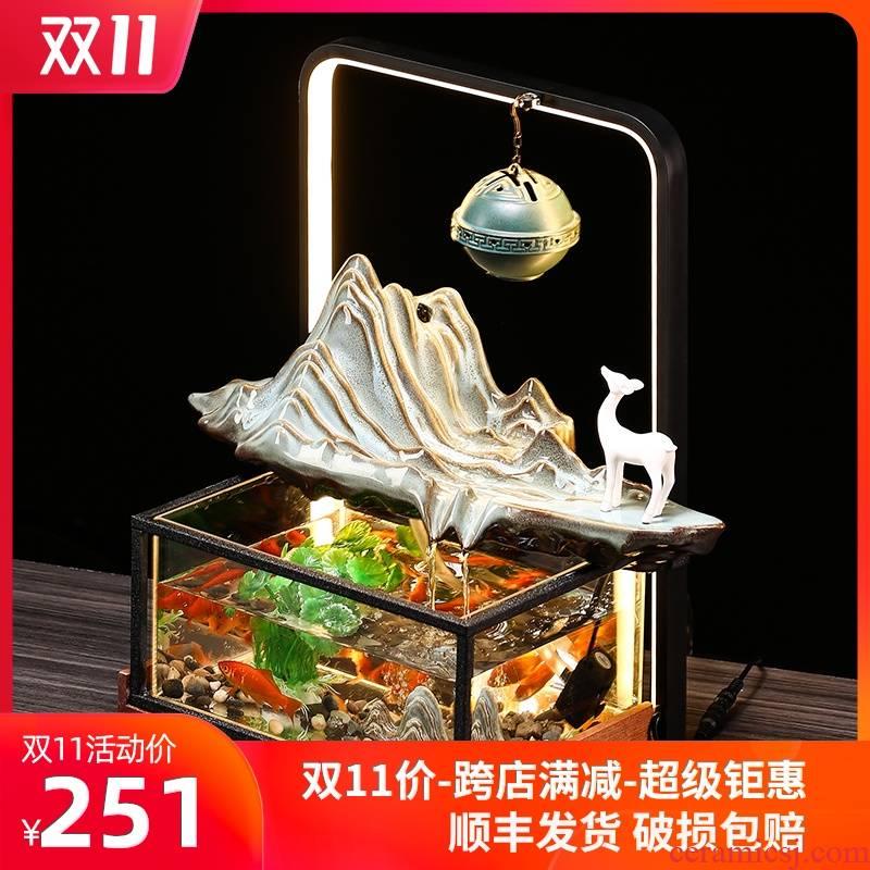 Aquarium small contracted sitting room creative home office desktop ceramic circulating water landscape goldfish bowl