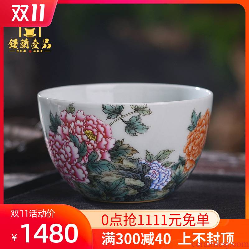All hand - made pastel peony master of jingdezhen ceramics kung fu tea set large personal tea cup to use single CPU
