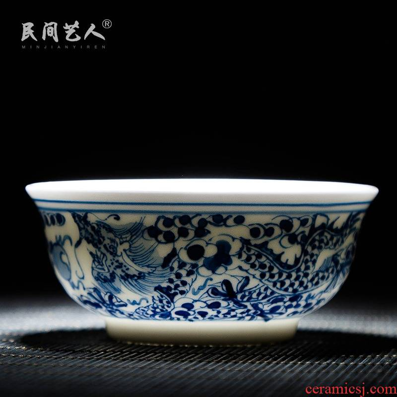 Jingdezhen ceramic sample tea cup hand - made kung fu of blue and white porcelain teacup personal single cup cup master cup small bowl