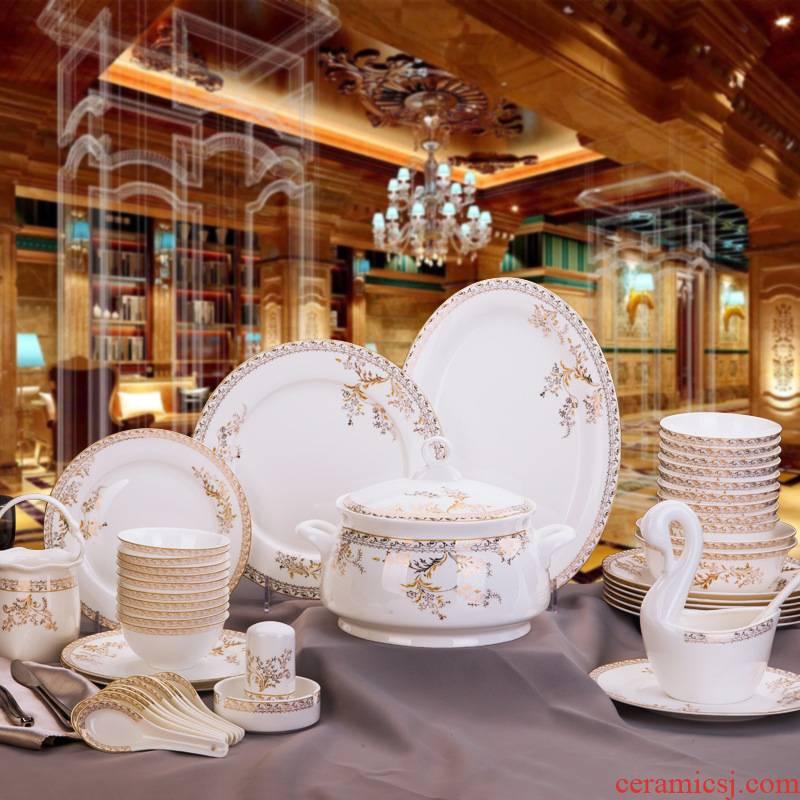 Fuels the European jingdezhen ceramic tableware suit sun island swan lake ipads porcelain bowl dish household ipads China