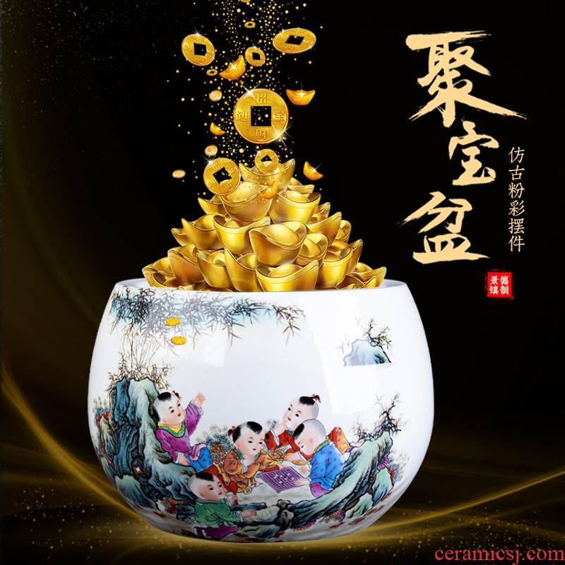 Jingdezhen ceramic cornucopia sitting room porch rich ancient frame of Chinese style household adornment geomancy fortune China