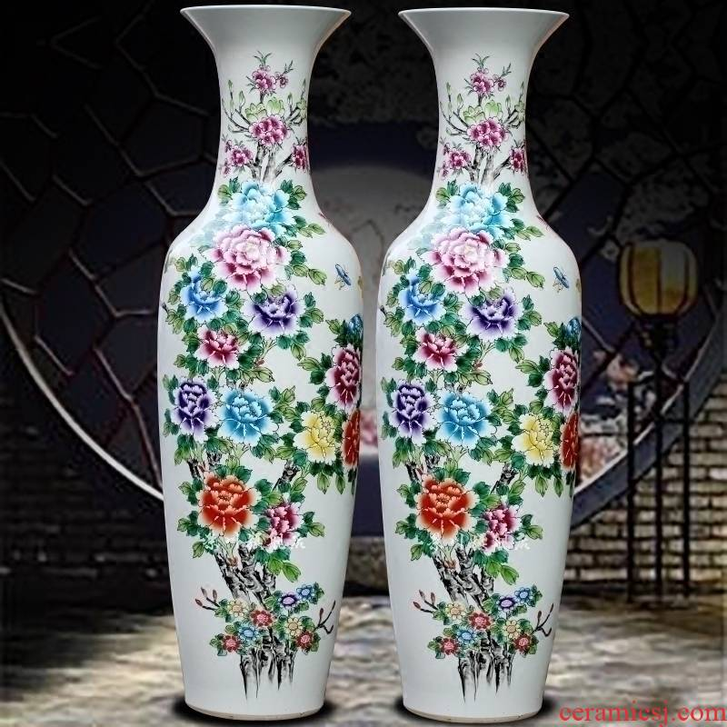 Hand made pastel big vase peony vase of porcelain of jingdezhen ceramics vase of large sitting room hotel furnishing articles