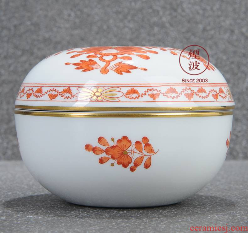 German mason mason meisen new clipping persimmon red porcelain India candy box flowers POTS store content box