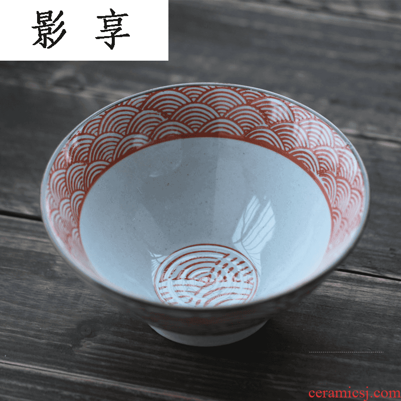 Shadow enjoy Japanese under glaze color porcelain tableware hat to bowl of coarse pottery bowl rainbow such as bowl chopsticks box creative suit HFS