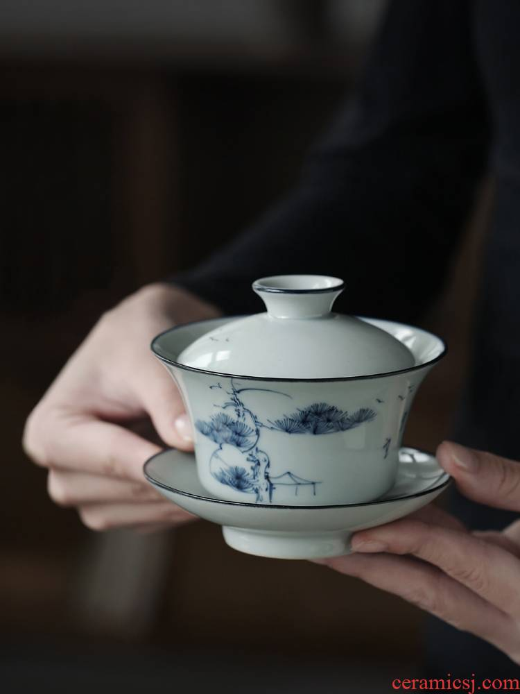 Ultimately responds to hand draw three to prevent hot tureen tea cups of jingdezhen blue and white manually large single kung fu tea tea bowl
