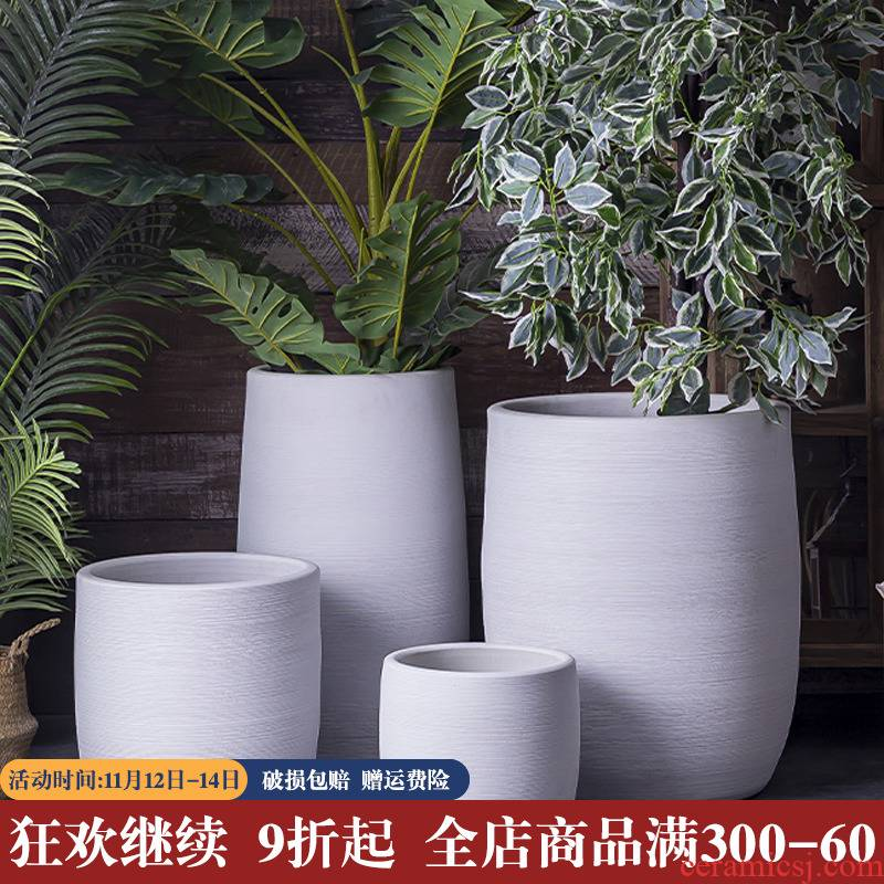 Nordic ceramic flower pot I creative contracted white ground basin to the sitting room, green plant of large diameter vase ornament