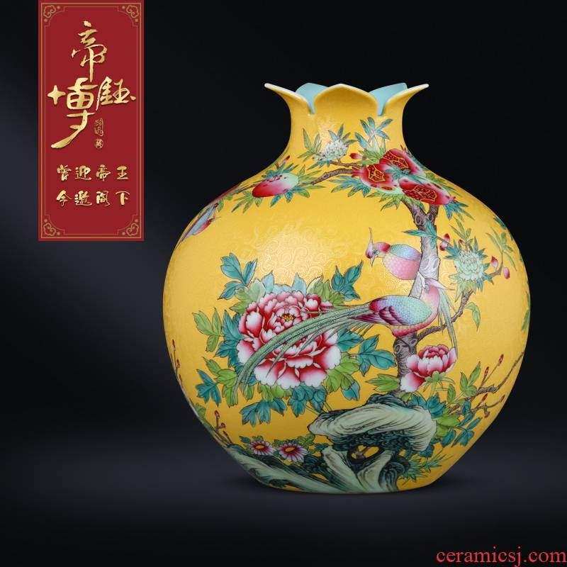 Jingdezhen ceramics antique hand - made pastel yellow scramble for pomegranate bottles of Chinese style living room porch TV ark, furnishing articles