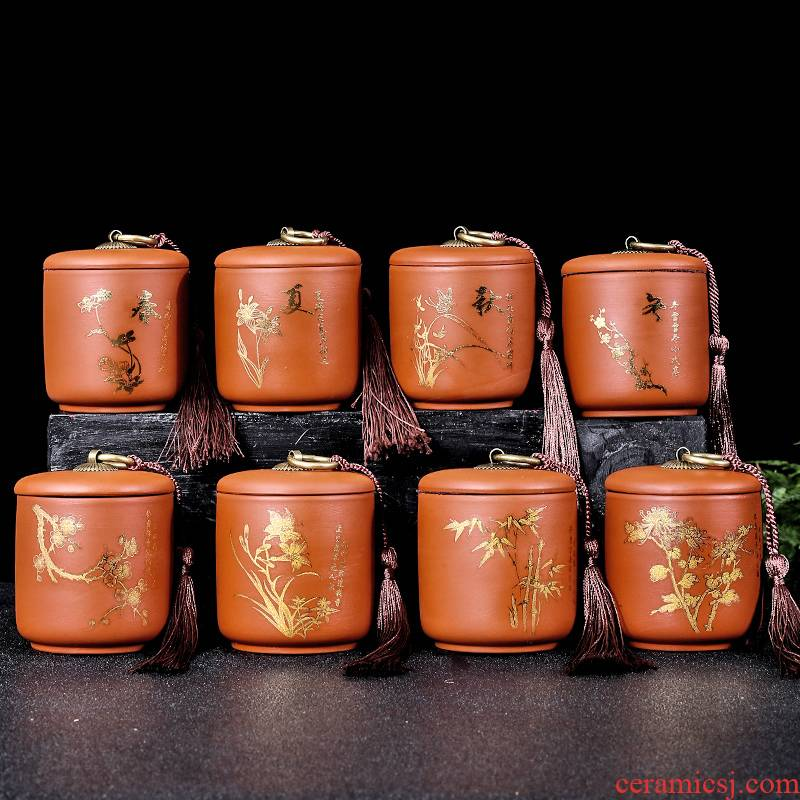 Purple sand tea pot ceramic small portable creative move fashion store tea sealing as cans household tea caddy fixings