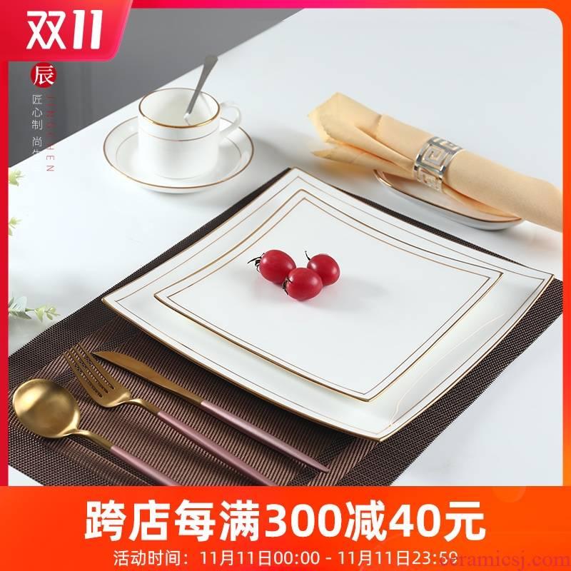 Contracted western - style steak tableware suit household European - style ipads China western food steak plate flat ceramic plate snack plate