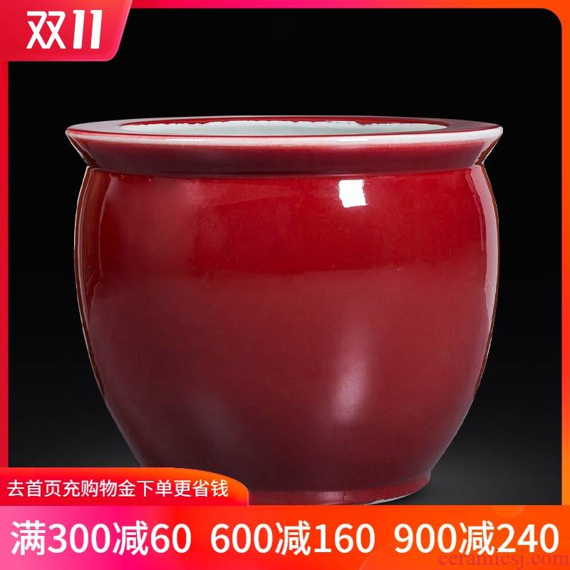 Jingdezhen ceramics antique ruby red fish tank red porcelain jar large painting and calligraphy calligraphy and painting decorative furnishing articles water lily cylinder cylinder