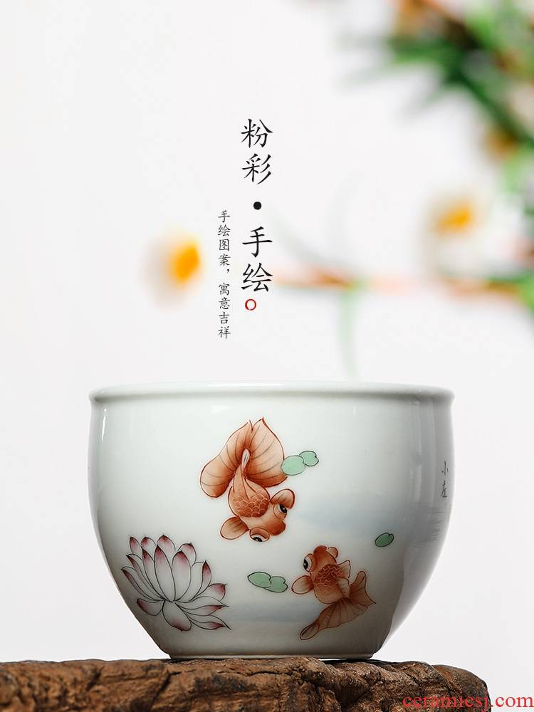 Pure manual pastel masters cup single CPU jingdezhen kung fu ceramic cups hand - made goldfish sample tea cup bowl only