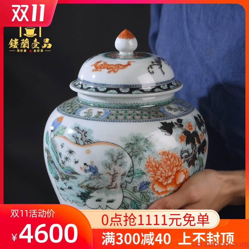 Jingdezhen ceramic tea pot hand - made ancient color very beautiful fish happy figure tank receives caddy fixings tea set