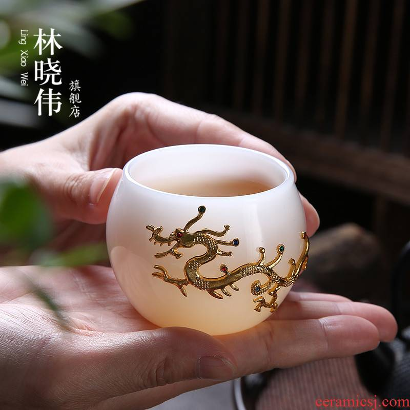 Lin Xiaowei with silvery white jade porcelain teacup large individual cup of coloured glaze master cup sample tea cup lamp that kung fu tea set