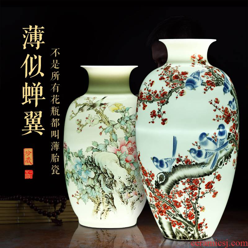 Jingdezhen ceramics vase large flower arranging living room place Chinese TV ark adornment blue and white porcelain