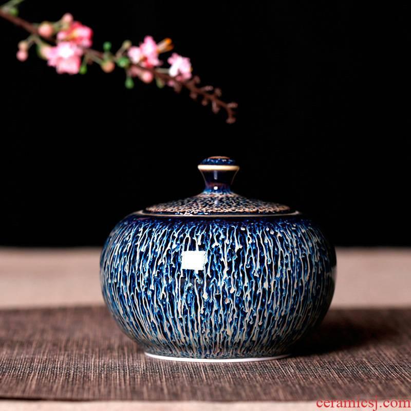 One thousand fire loading caddy fixings jingdezhen ceramic household small mini portable pu - erh tea pot seal storage tanks