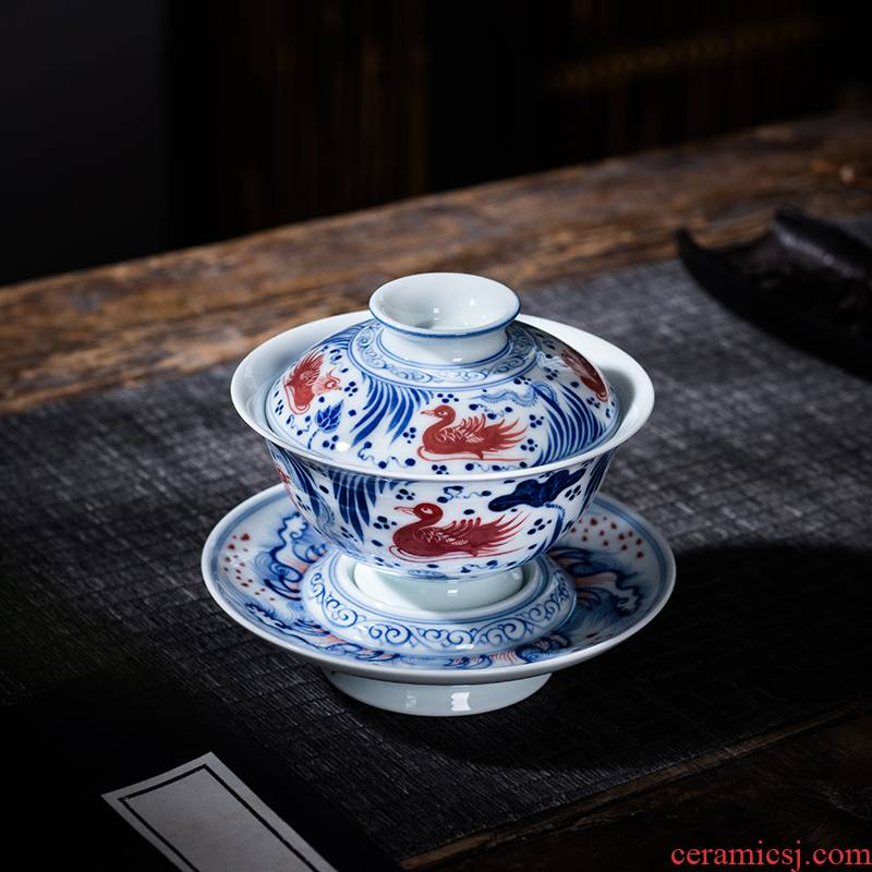 The Owl up jingdezhen blue and white glaze tea service manual hand - made ceramic tureen large cups under a single red tea cup