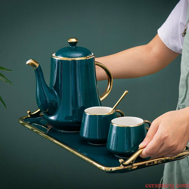 Practical tea set home European top - grade ceramic coffee cup English afternoon tea tray was small key-2 luxury gifts