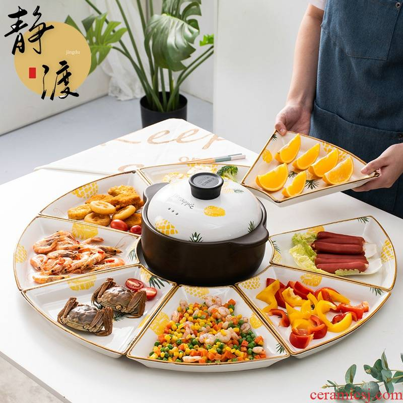 Creative web celebrity platter suit composite plate ceramic plates home New Year round dish fan - shaped plate tableware