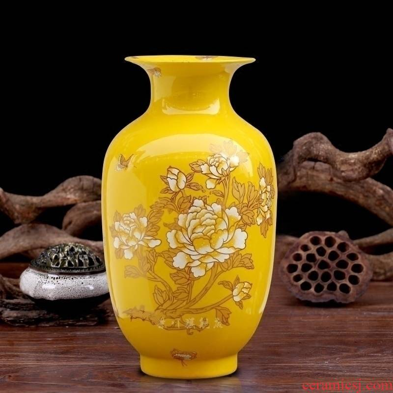 Jingdezhen dried flowers flower arrangement floret bottle of modern Chinese style household ceramics office furnishing articles table decorations arts and crafts