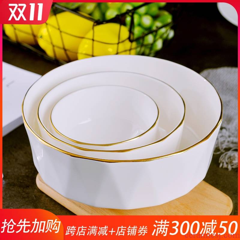 Jingdezhen up phnom penh ipads bowls of household creative move rice bowls a single ceramic rainbow such use European large soup bowl