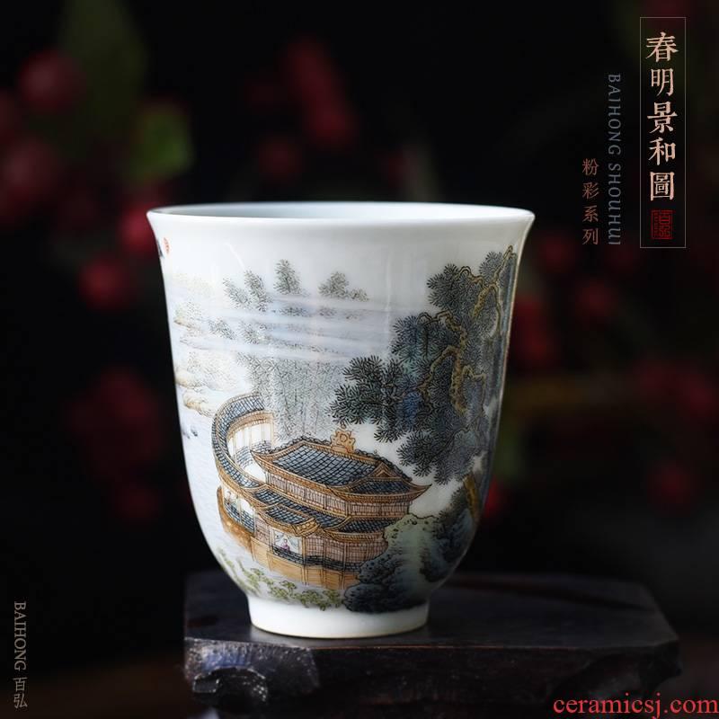Hundred hong pastel spring MingJingHe figure master cup single CPU jingdezhen ceramic teacups hand - made scenery sample tea cup