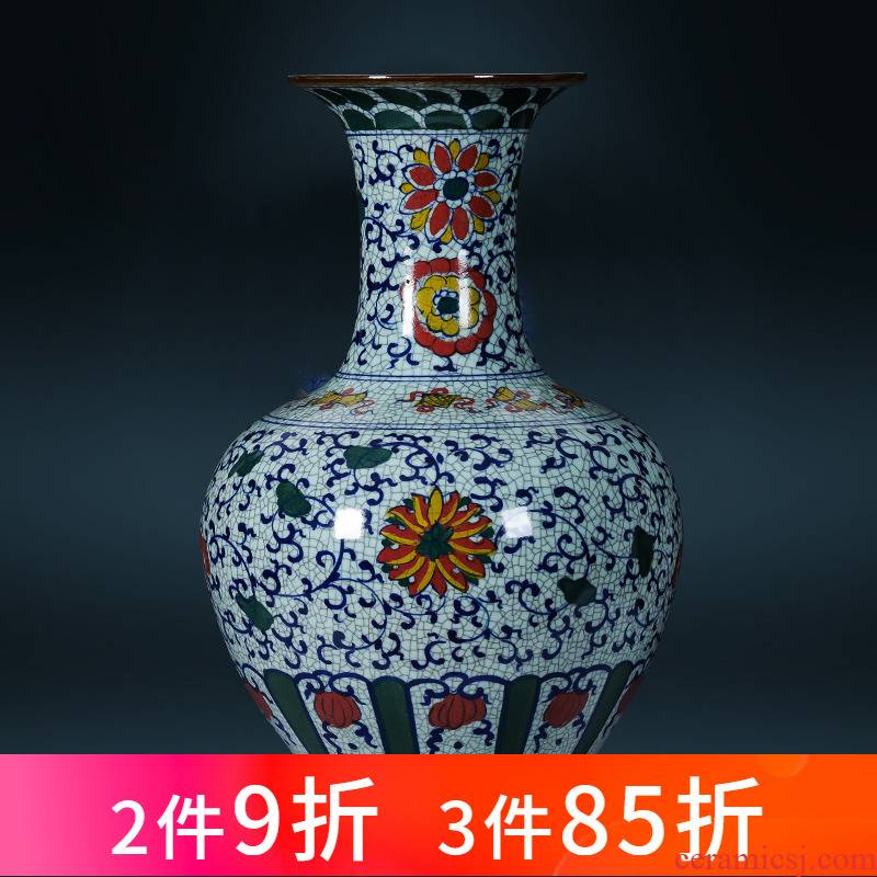 Jingdezhen ceramics large antique hand - made of blue and white porcelain vase home sitting room flower arranging ground adornment furnishing articles