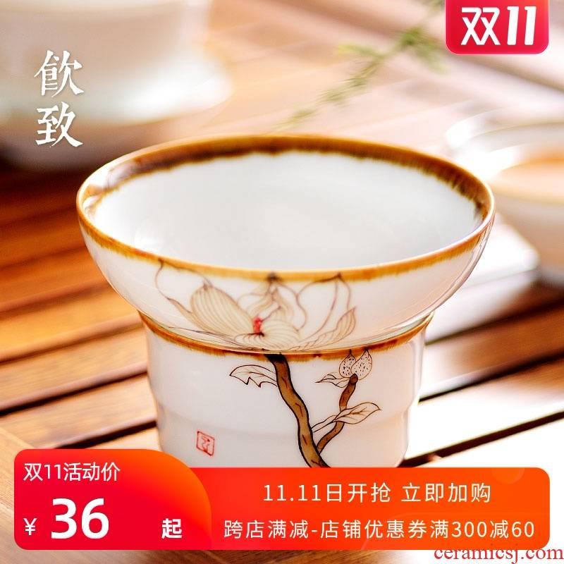 Ultimately responds to ceramic slip through kombucha tea good filter mesh filter tea tea tea taking creative Japanese tea service manual