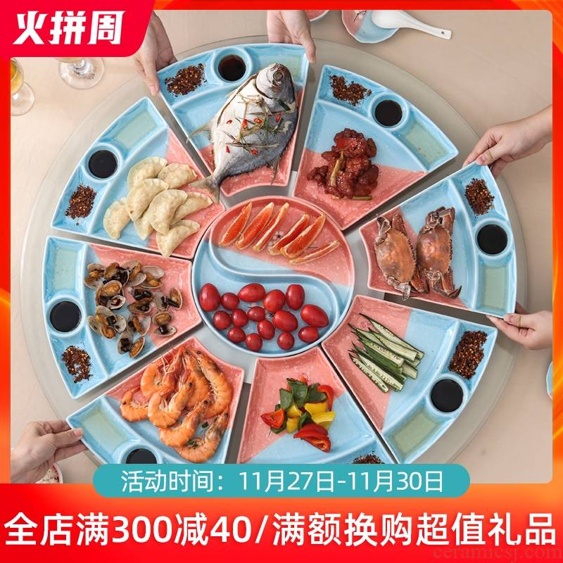 Creative new seafood hot pot dishes suit household ceramics reunion dinner party web celebrity platter tableware
