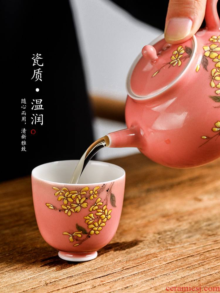 Master kung fu tea cup pure manual powder sample tea cup single CPU jingdezhen hand - made ceramic glaze sweet - scented osmanthus tea set