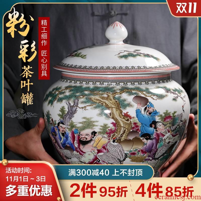 Archaize of jingdezhen ceramics powder enamel caddy fixings sitting room porch place large puer tea cake sealed jar