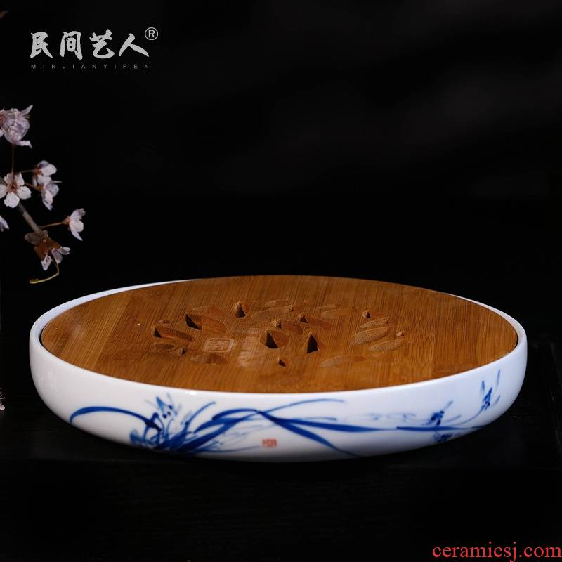Jingdezhen ceramic hand - made clivia kung fu tea set ground parts embedded real wood tray ceramic disk