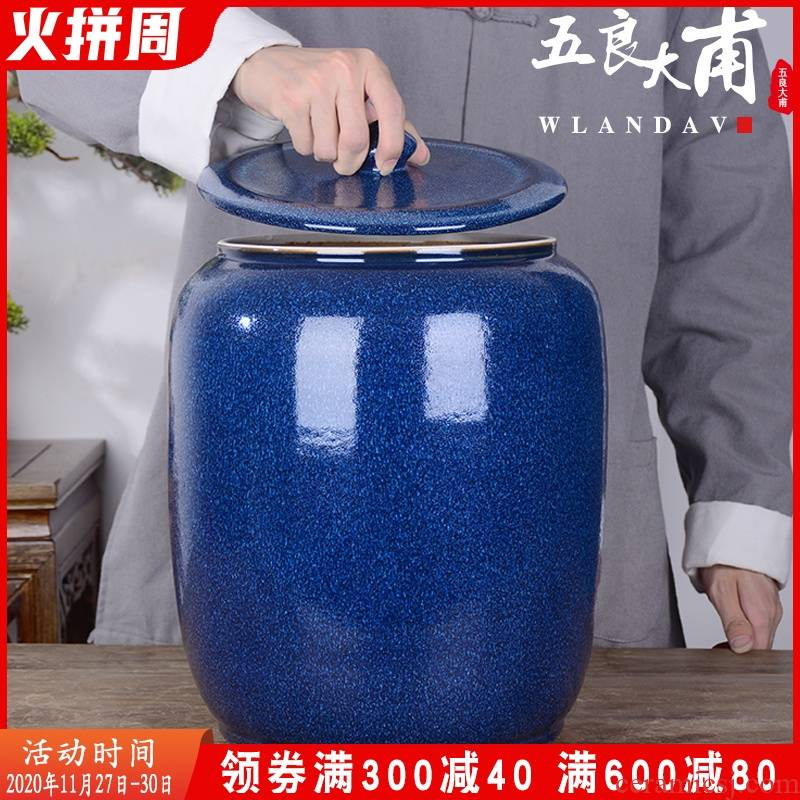 Jingdezhen ceramic barrel with cover household 30 kg to flour barrels of insect - resistant moisture meter box sealed storage tank in the kitchen