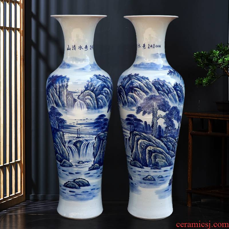 Jingdezhen ceramics hand large blue and white porcelain vase furnishing articles to heavy sitting room decorate new home large hotel