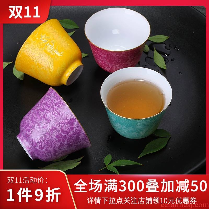Kung fu xin MAO teaset jingdezhen ceramics cup manual pick flowers sample tea cup 80 ml single CPU master cup a cup