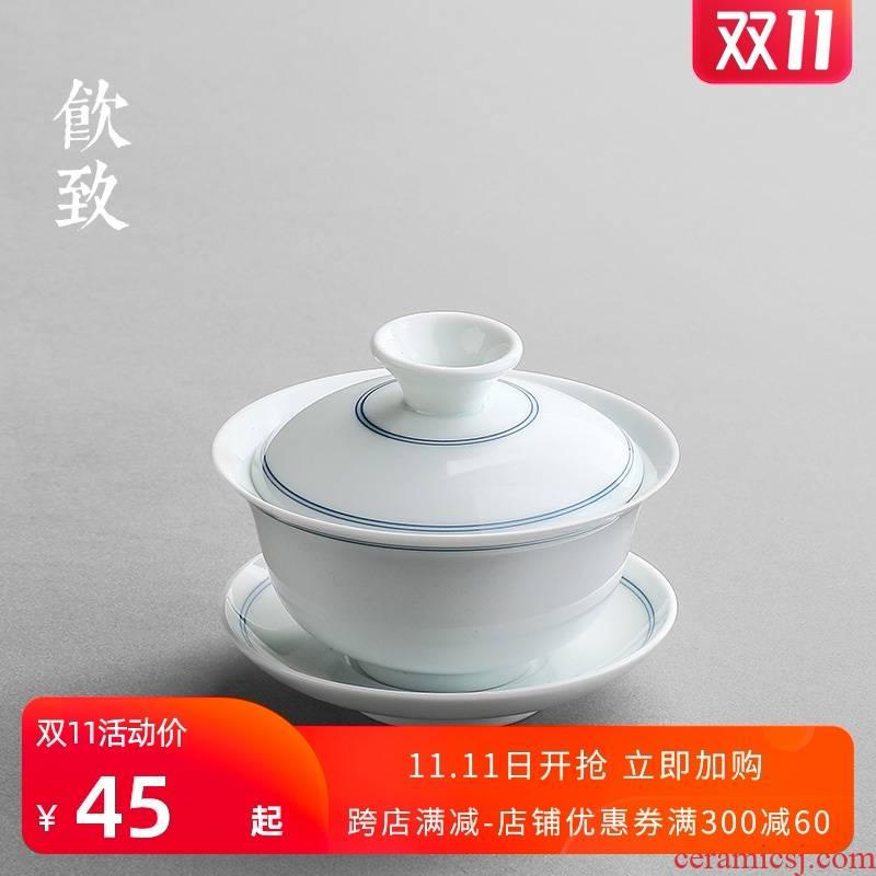 Ultimately responds to the xuan wen jingdezhen porcelain tureen ceramic cups to make tea bowl three little hand draw a single thin foetus tea sets