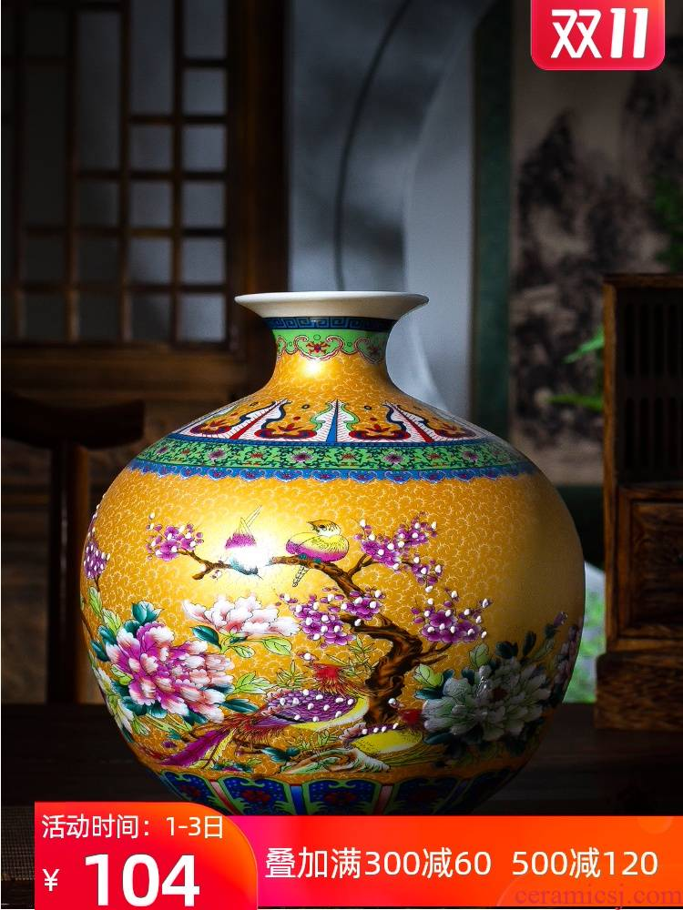Jingdezhen ceramic vase furnishing articles flower arranging rich ancient frame of Chinese style household act the role ofing is tasted sitting room colored enamel pomegranate bottles of restoring ancient ways